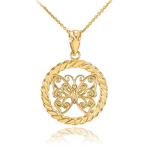 Collier Femme Pendentif 10 Ct Or Jaune Filigrane Papillon À Cercle Corde (Livré avec une 45cm Chaîne)