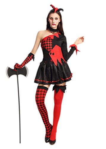 JJ-GOGO Queen Zombie Costume - Sexy Black Red
