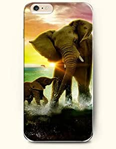 OOFIT New Apple iPhone 6 ( 4.7 Inches) Hard Case Cover - A Baby Elephant Play Water with Its Mother Elephant