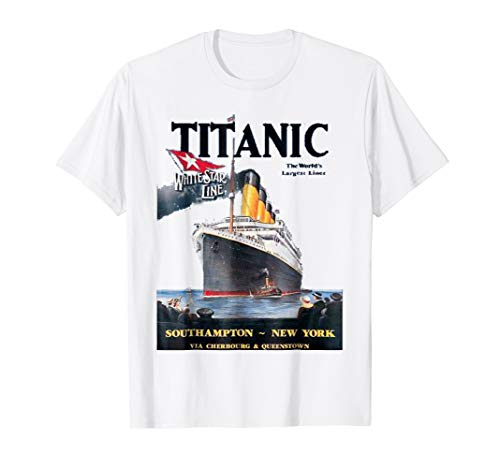 (Titanic T-Shirt Vintage Ship Atlantic Ocean Voyage Poster)