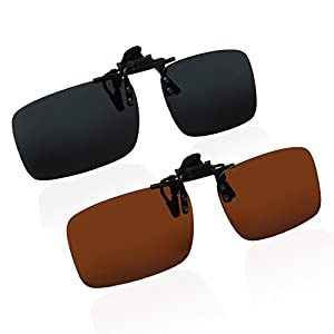 Clip On Sunglasses | 2pcs Polarized Clip On Flip Up Metal Clip UV 400 Sunglasses Lenses | Metal Clip Anti-Glare Lenses to Wear Over the Glasses and Reduce Eye Strain | Black and Brown | 1569