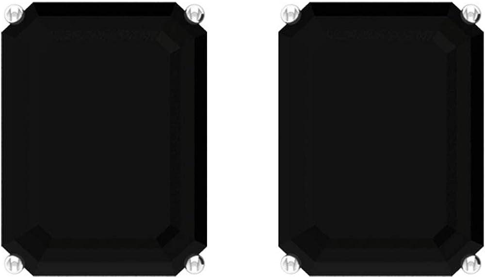 Pendientes Solitarios de 5,8 quilates de espinela negro, con forma de octágono certificado, pendientes de declaración nupcial, pendientes de fiesta para ella, tornillo hacia atrás
