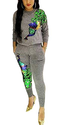 DingAng Women's Two Piece Outfits Peacock Sequins Sweatshirt Long Pants Tracksuit ()