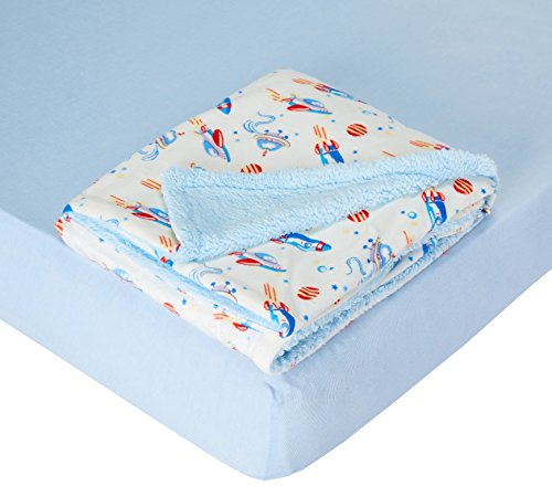 - My Baby Toddler Boys Rockets Printed Mink Reversed Coral Fleece Blanket with Cotton Sheet Crib Bedding Set, Blue