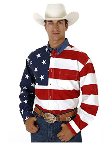 Roper Men's Stars & Stripes Pieced Flag Shirt L/S Red XXX-Large ()
