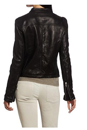 Para Negro Junction Mujer Leather Chaqueta fOqxE