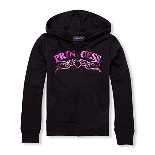The Children's Place Big Girls Graphic Hoodies, Black M (7/8)
