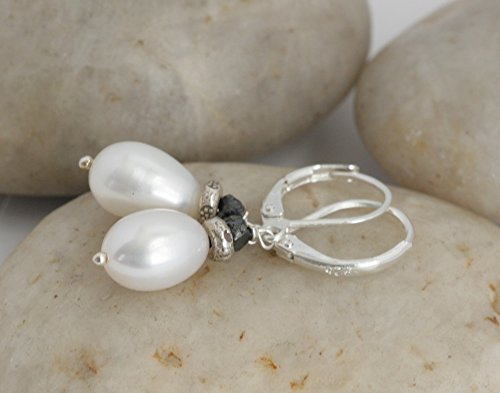 Hill Tribe Silver Dangle - Black DIAMOND Pearl Drop Sterling Hill Tribe Silver Dangle Earrings // Handcrafted Jewelry