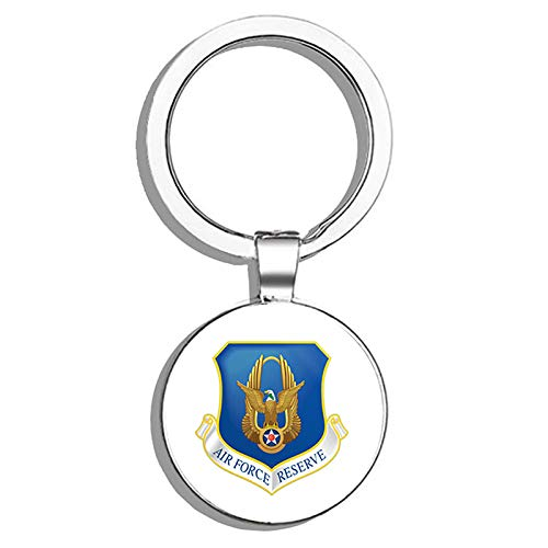 - HJ Media US Air Force Reserve Military Military Veteran USA Pride Served Metal Round Metal Key Chain Keychain Key Ring