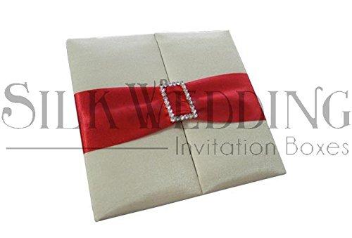 - Elegant Ivory Gatefold Wedding Invitation Folio With Bold Red Sash And Glittering Brooch