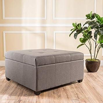 Christopher Knight Home 299433 Living Carlyle Dark Grey Fabric Storage Ottoman, 35D x 35 W x 18.50 H,