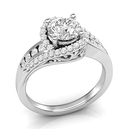 White Gold Twisted Halo Engagement Ring 14K Engagement Ring Vintage Filigree Halo Ring Swirl Twist Ring Channel and Prong Setting Forever One Colorless Moissanite Center Ring For Her