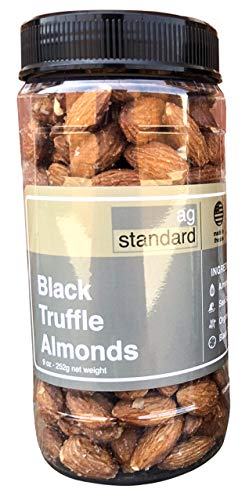 Sea Salt Black Truffle Almonds - Fresh Black Italian Truffle Nuts - Gourmet Almonds Black Truffle Snacks - Healthy & Tasty - Vegan Gluten-Free Salty Italian Nuts - 9 oz Jars of Artisan Almonds (Truffles Almond Italian)