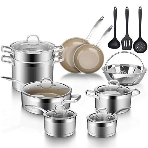 Duxtop 17PC Professional Stainless Steel Induction Cookware Set, Stainless Steel Ceramic Nonstick Pan Set, Impact-bonded…