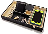HoundsBay Big Valet Tray for Men with Large Smartphone Charging Station