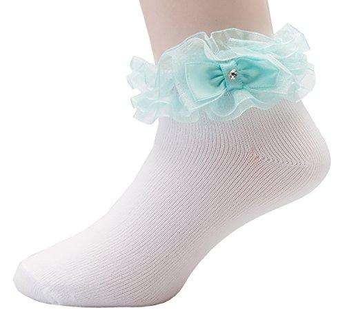 OLIVIA KOO Girl's Organza Multi Ruffle Top Anklet Socks (Infant to 11 Years) ()