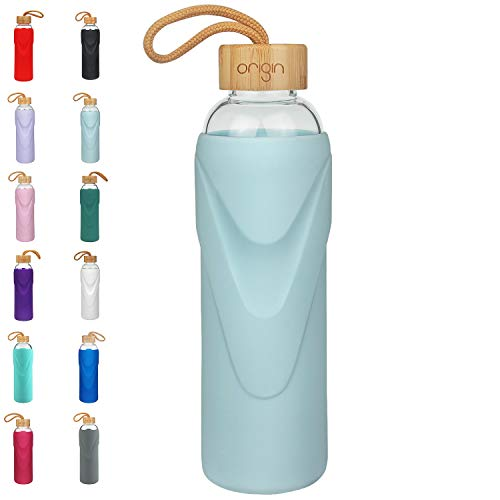 ORIGIN - Best BPA-Free Glass Water Bottle With Protective Silicone Sleeve and Bamboo Lid - Dishwasher Safe - 32 Ounce (Sky Blue)