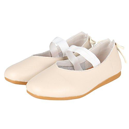 Petit Girls Shoes (PETIT BARI Girl's Leather Mary Jane Princess Dress Bowknot Ballet Flat Shoes White 28 M EU/11 M US Toddler)