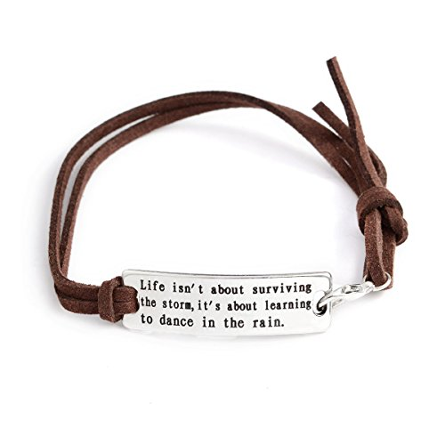 QIHOO Fashion Inspirational Words Messaged Stainless Steel Hand Stamped Leather Cuff Bracelets (Brown-Life isn't about surviving the storm,it's about learning to dance in the rain) (Leather Brown Stamped)