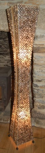 Unusual floor standing lamp from Bali - hand made from bamboo rings ...