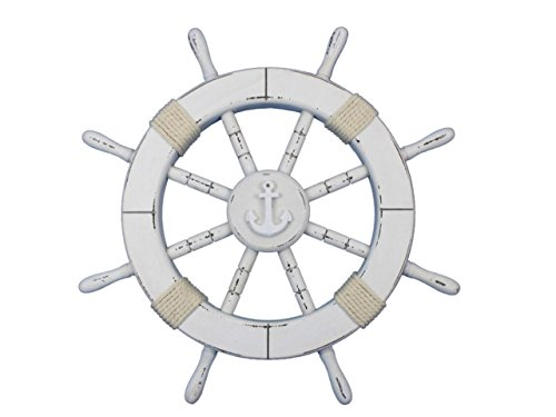 Hampton Nautical  Rustic White Decorative Ship Wheel with Anchor 18