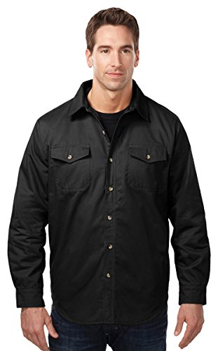 Tri-mountain Mens cotton/poly-sueded twill long sleeve shirt - BLACK/CHARCOAL - Large (Twill Shirt Sueded)