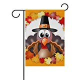 Naanle Thanksgiving Turkey Autumn Fall Leaves Double Sided Polyester Garden Flag 28 x 40 Inches, Thanksgiving Holiday Decorative Large House Flag Party Yard Home Decor For Sale