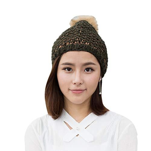 Mélangées Bonnet Acvip De D'hiver Pom Tricot Fausse Femme Fourrure En Militaire Avec Chapeau Pour Vert Couleurs 11ITF0