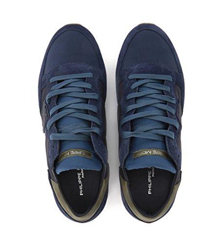 Sneaker Tropez Da Uomo Modello Philippe In Pelle Blu E Blu Scamosciato