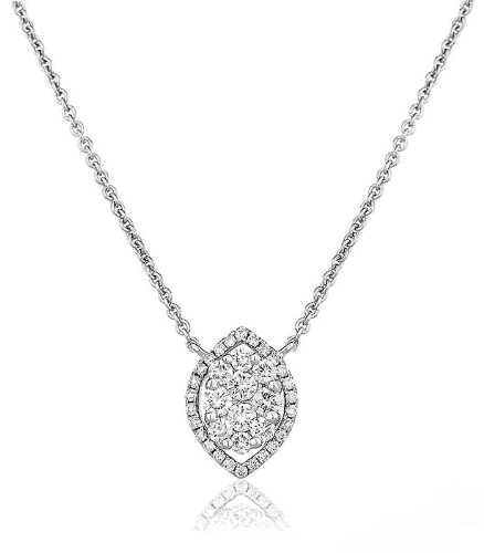 0.45CT Certified G/VS2 Cluster Marquise Shape Diamond Pendant in 18K White Gold