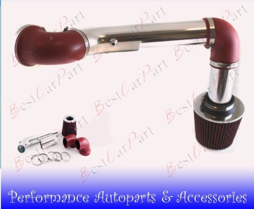 95 96 97 Pontiac Firebird V6 3.8l Cold Air Intake 2pcs Red (Included Air Filter) #Cai-ch004r ()