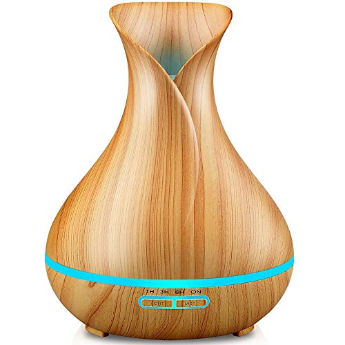 URPOWER Essential Oil Diffuser, 400ml Wood Grain Cool Mist Humidifiers Ultrasonic Aromatherapy Diffusers with 4 Timer Setting and High or Low Mist Output for Home Bedroom Baby Room Study Yoga (Light)