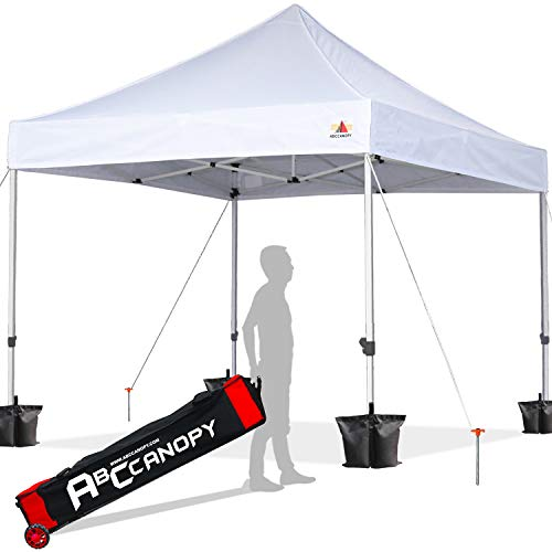 ABCCANOPY 10×10 Canopy Tent Pop up Canopy Outdoor Canopy Commercial Instant Shelter with Wheeled Carry Bag, Bonus 4 Canopy Sand Bags