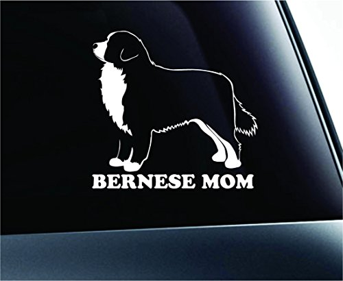ExpressDecor Dog Bernese Mountain Dog Mom Symbol Decal Car Truck Sticker Window Dog Breed Pet Family Paw Print Love (White)