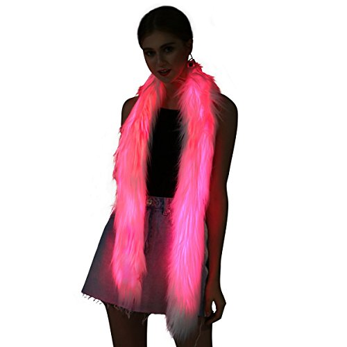 Led Scarf Light Up Fur Boa Glow Up Flashing Fun Novelty Scarves for Rave Accessory Clothing Outfit Burning Man Costume Festival Party White ()