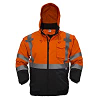 JORESTECH 2-in-1 Ripstop Safety Bomber Jacket Waterproof Reflective High Visibility with Detachable Hood and Fleece… 3