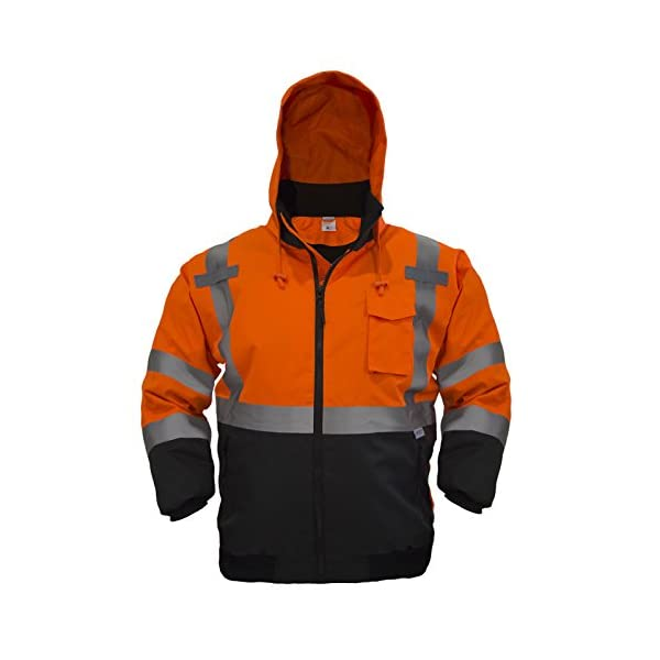 JORESTECH 2-in-1 Ripstop Safety Bomber Jacket Waterproof Reflective High Visibility with Detachable Hood and Fleece… 1