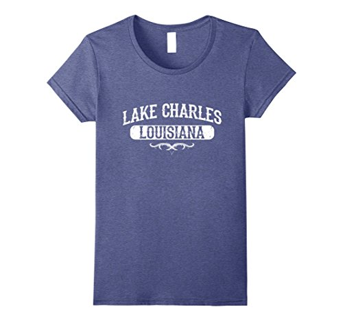 Women's Lake Charles Louisiana T Shirt Vintage Distressed  XL Heather - Lake Women Charles
