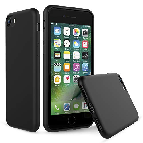 PENJOY Silicone Case for Apple iPhone 6 / 6s / 7/8, Full Body Protection Silicon Cases Support Wireless Charging Slim Rubber Cover, Black
