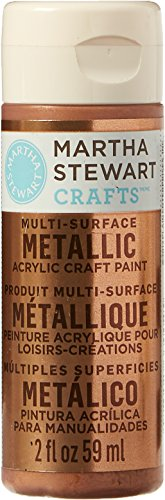 Martha Stewart Crafts Multi-Surface Metallic Acrylic Craft Paint in Assorted Colors (2-Ounce), 33002 Rose Copper (Assorted Craft Wood)
