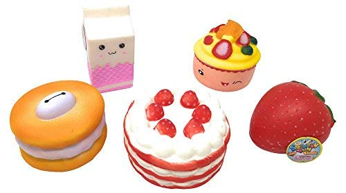 JA-RU Squeesh Yum Treats 5-PC Kawaii Squishies Slow Rising Collection Bundle - Strawberry Cake, Ice-Cream Sandwich, Fruity Cupcake, Strawberry, and Milk (Assorted Colors) -