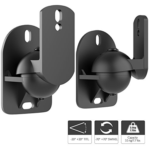 1home Universal Satellite Speaker Wall Mount Bracket Adjustable Tilt Swivel...