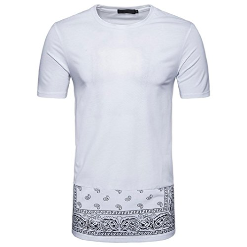 Mode Print Hip T Shirts Druckblusen Hipster Kurzarmshirt T Herren Fit Shirt Hippies Ethno Style Shirts Longshirt im Rundhals Longra White Shirt Männer Shirt Hop Slim UpZqwxB