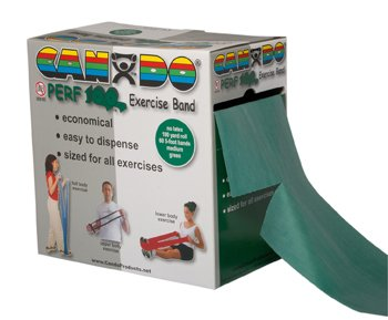 Cando Exercise Band 100 yd Perforated Roll Latex Free Medium Green for upper & lower body exercises by Fabrication