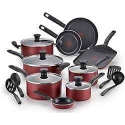 T-fal Cookware Set, Nonstick Cookware Set, 18 Piece, Red
