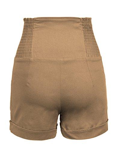 hot from HOLLYWOOD - Pantalones cortos sofisticados y modernos de talle alto, con botones en la parte delantera, estilo vintage Arena Del Desierto