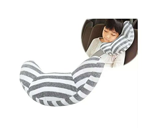 Toddler Car Seat Pillow (Travel Pillow for Kids, Wo Baby Car Seatbelt Cushion Pillow Strap Covers, Children Head&Neck Support, Snooze Comfort in Car (Gray Stripes))