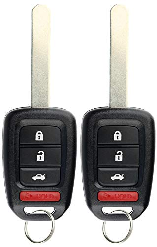 KeylessOption Keyless Entry Remote Fob Uncut Car Key for Honda Accord 16-17 Civic 16-19 (Pack of 2)