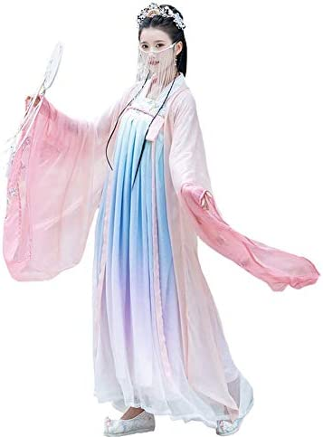 Susichou Hanfu Gesticktes Langarmhemd Gradient Chest Fairy Dress im chinesischen Stil Leistungskostüm Abschlussfoto Tanzkleid