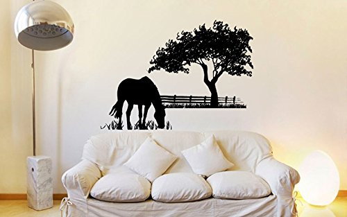 Silhouette Grass - Horse Grazing Silhouette with Grass and Tree Vinyl Wall Decal Sticker Graphic